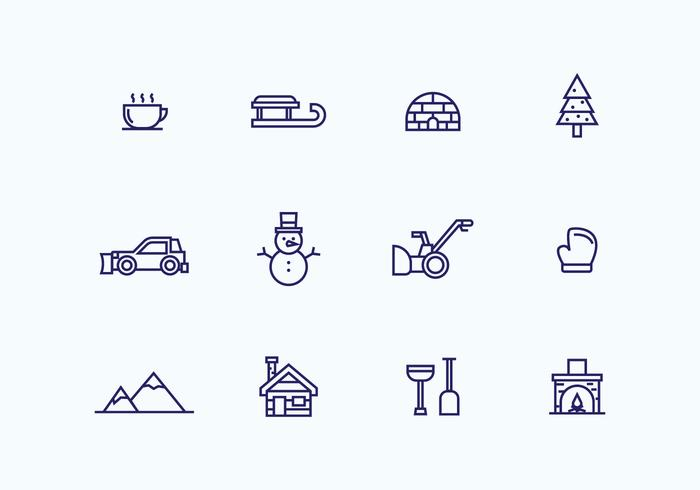 Outlined Winter Icons vector