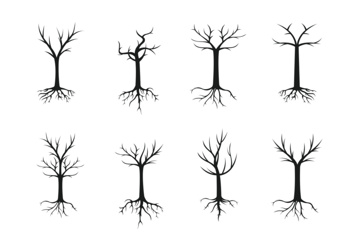 Tree With Roots Silhouette Vector