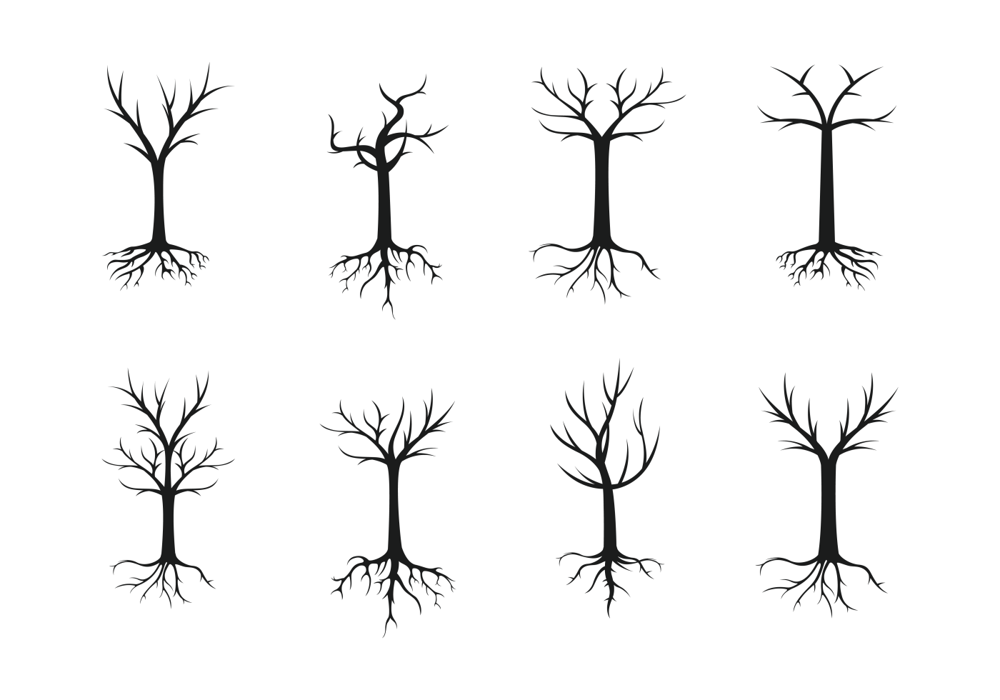 Tree With Roots Silhouette Vector - Download Free Vectors ...