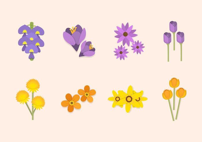 Flat Spring Flower Vectors