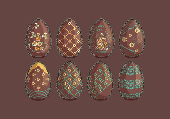 Vintage Chocolate Easter Eggs with Flowers Vectors