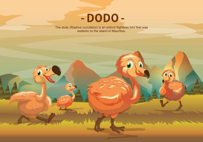 Dodo Vogel-Zeichen Vektor-Illustration vektor