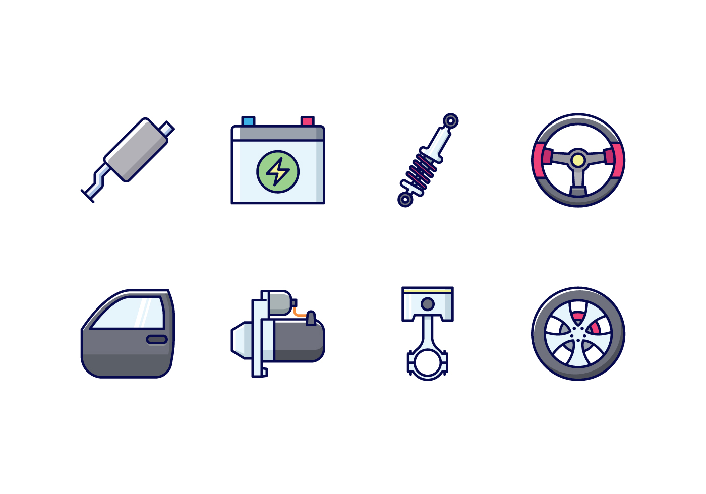 Vector Automobile Parts Icon Set on Automobile Exhaust