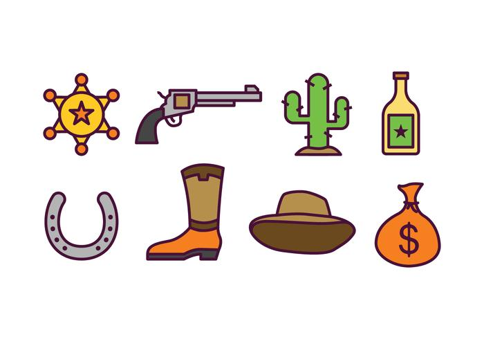 Cowboy ikonuppsättning