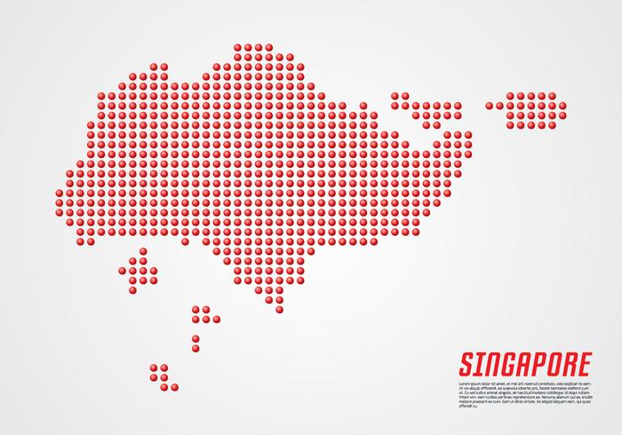Singapore 3D Dotted Map vector