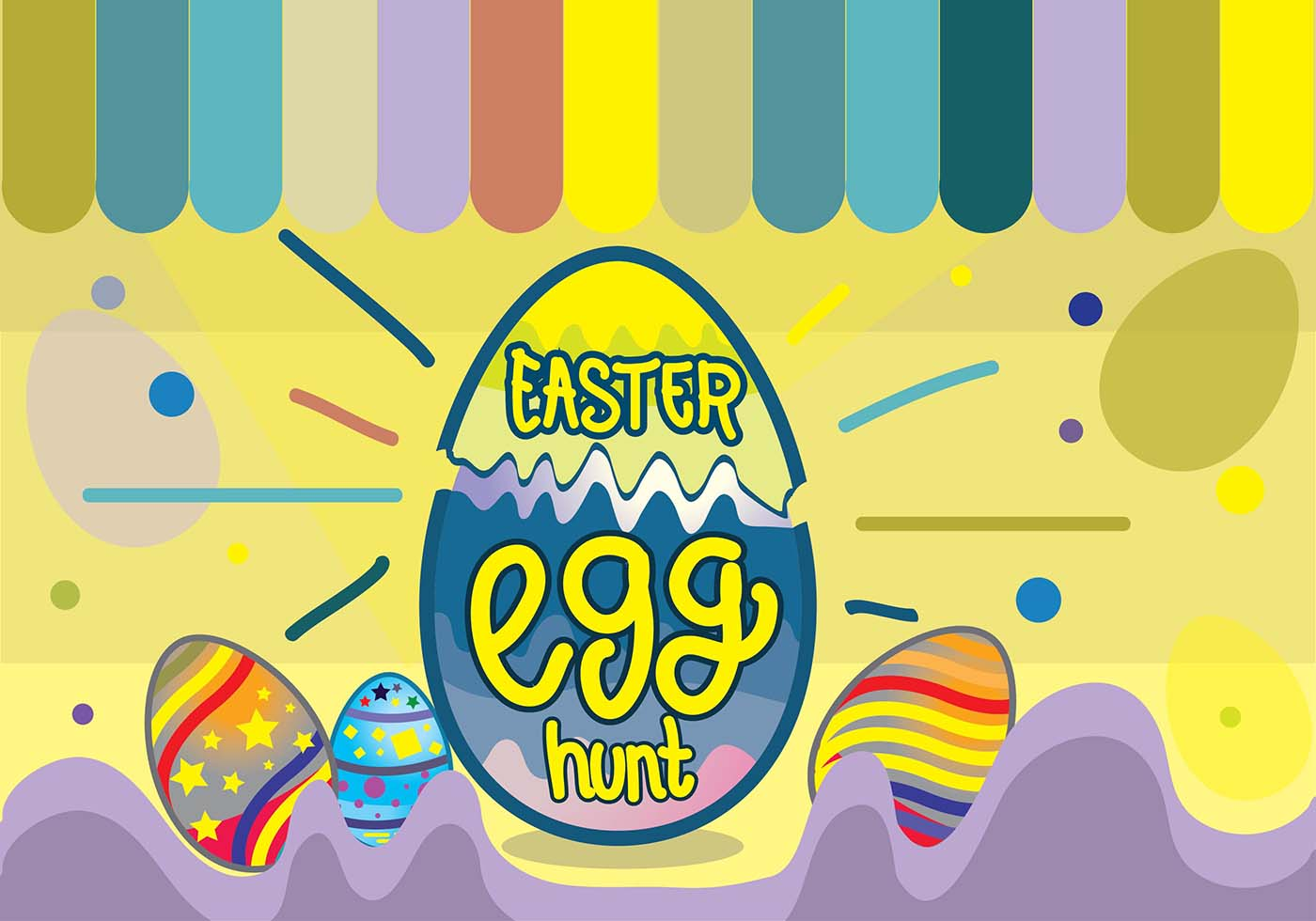 Colorful Easter Egg Hunt Funky Pop Background