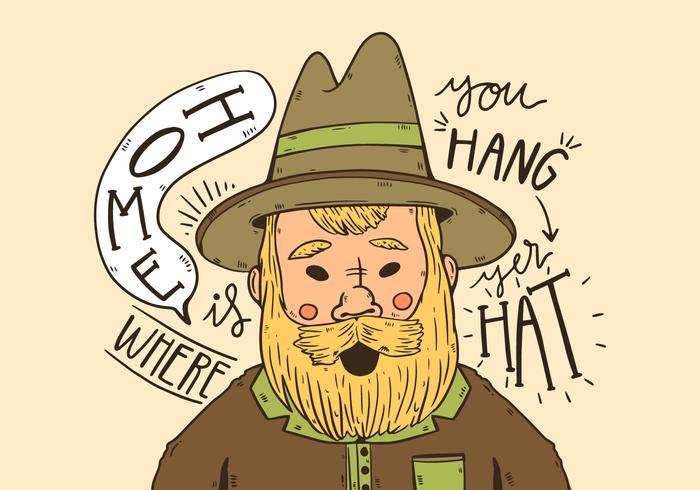 Söt cowboy med gula långt skägg och citerar
