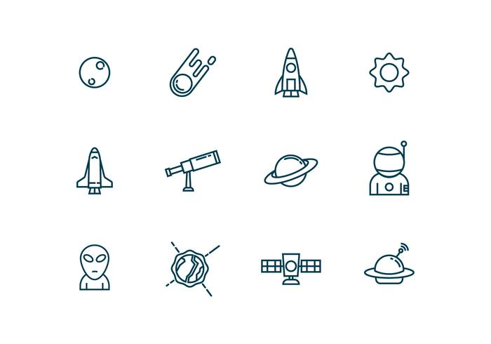 Astronomie Iconen in Outline Style