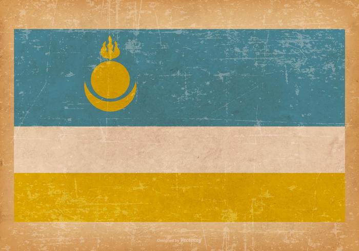 Falg of Buryatia on Grunge Background vector