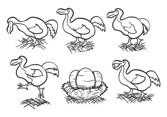 Dodo outline hand drawn vector set