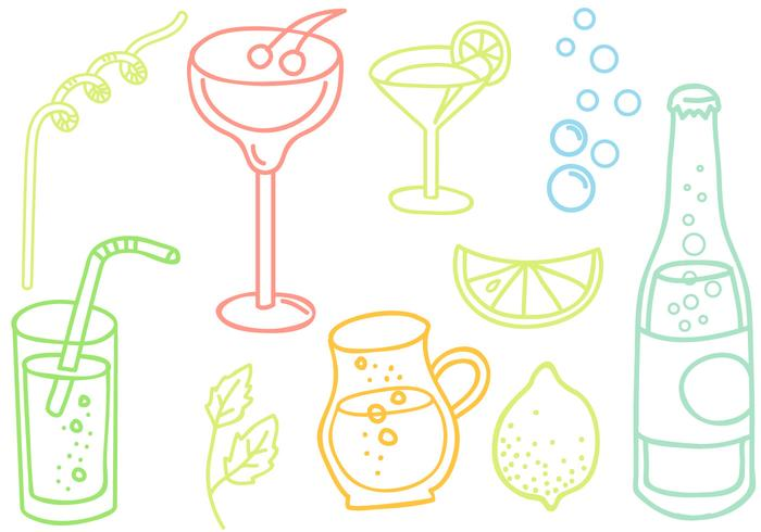 Vecteurs boissons gratuites Doodle