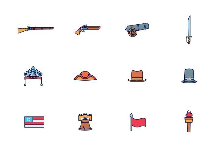 Vector Pack de thème colonial américain