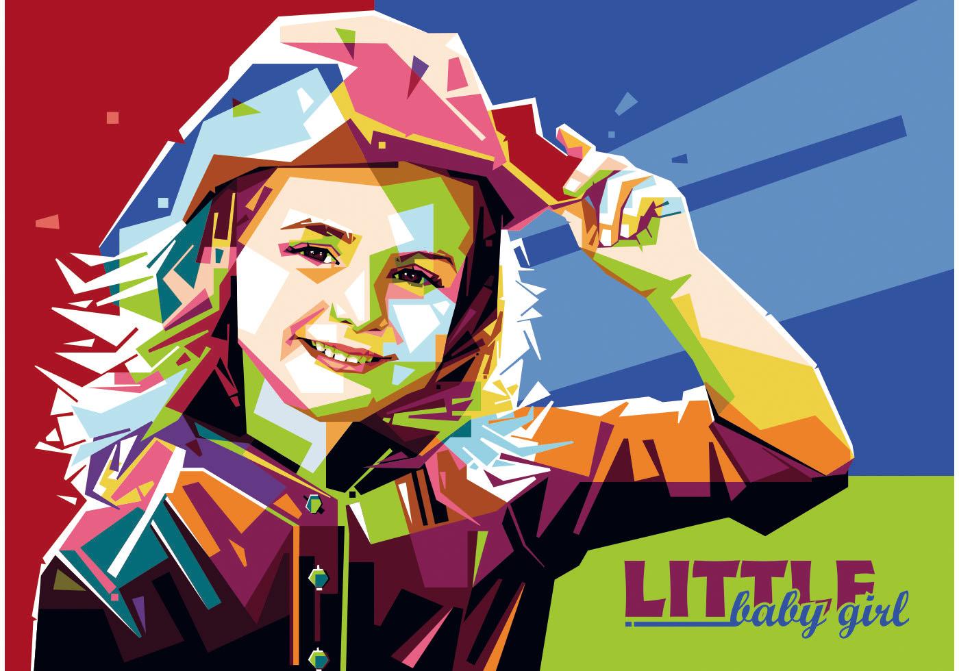 Little Baby Girl Vector Wpap Download Free Vector Art