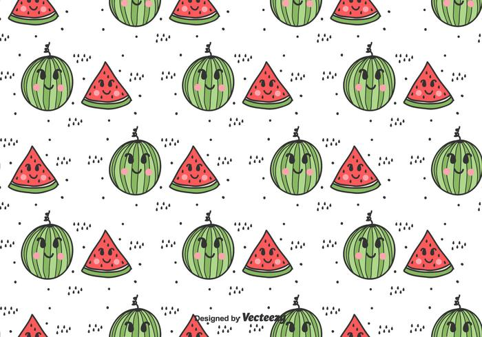 Cartoon Watermelon Vector Pattern