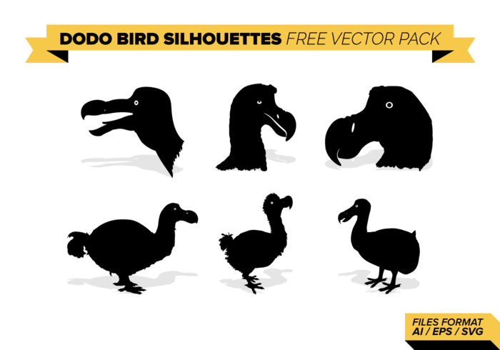 Dodo fågelsilhouettes Free Vector Pack