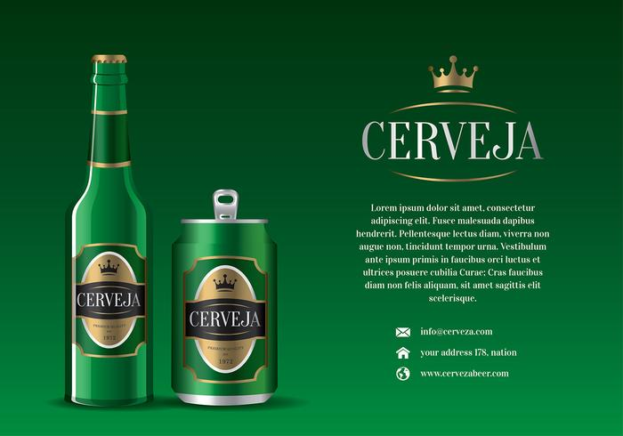 Cerveja Green Bottle and Can Free Vector