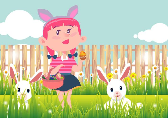 Kid Easter Egg Hunt Vector Background