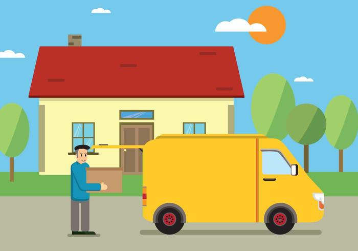 Free Male Worker Carrying Cardboard Boxes In Front Of Van Illustration