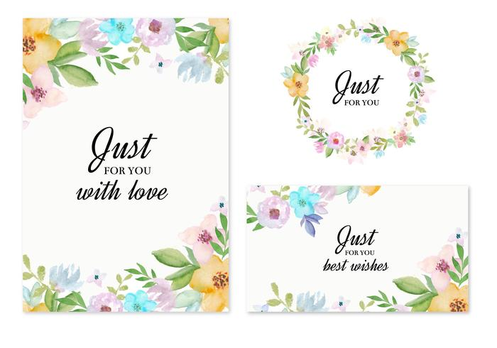 Vector Invitation Cards With Watercolor Flowers