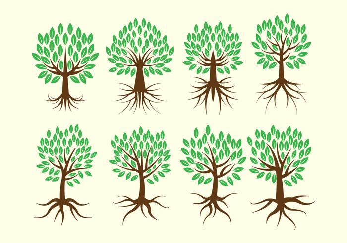 Gratis Tree med rötter Vector Collection