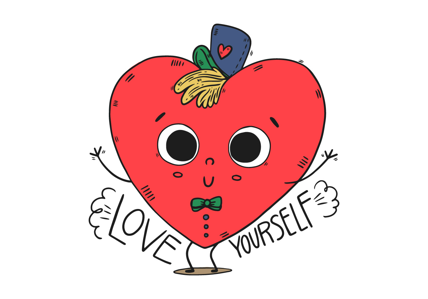 cute heart kid character with hat and happy quote