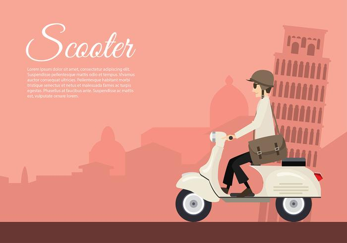 Scooter Italy Cartoon Free Vector