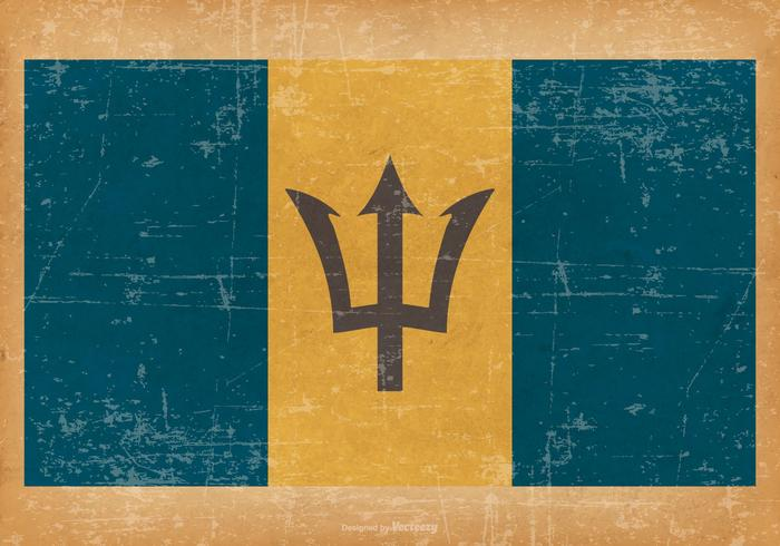 Grunge Style Flag of Barbados