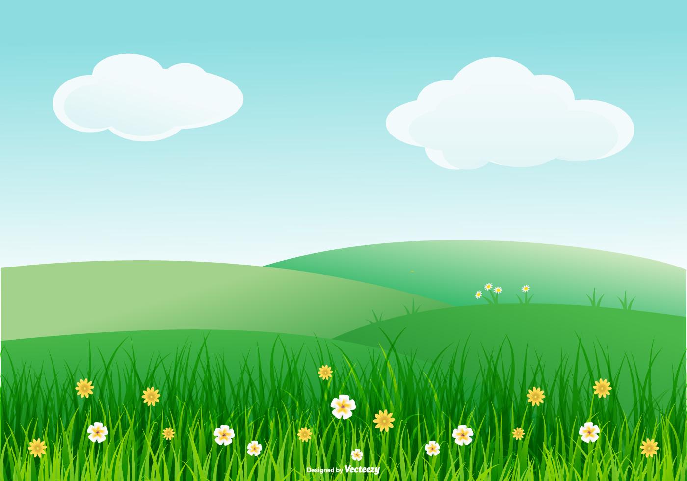 Landscape Illustration Vector Free: Beautiful Spring Landscape Illustration
