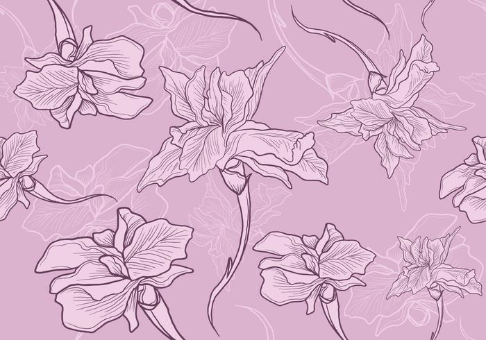 Iris Flower Seamless Pattern