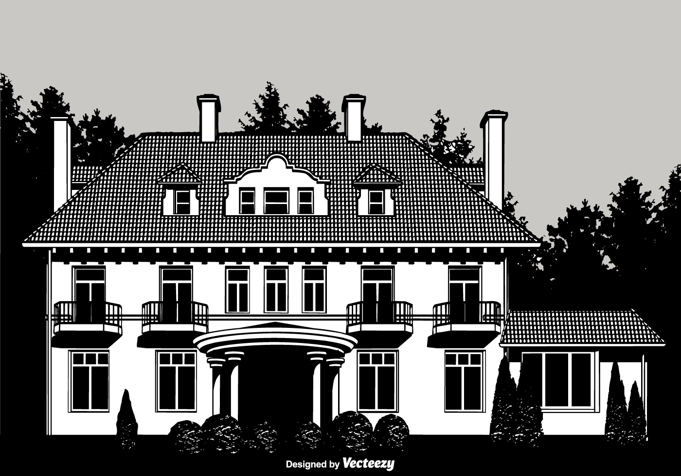 Colonial Mansion Vector Design Download Free Vector Art