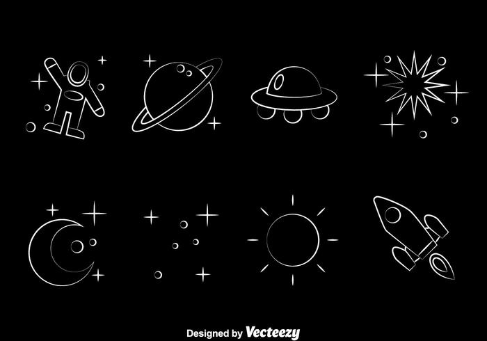 Space Element Line Icons Vector