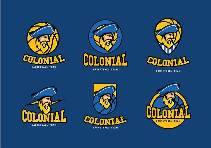 Colonial Basketball Logo Free Vector