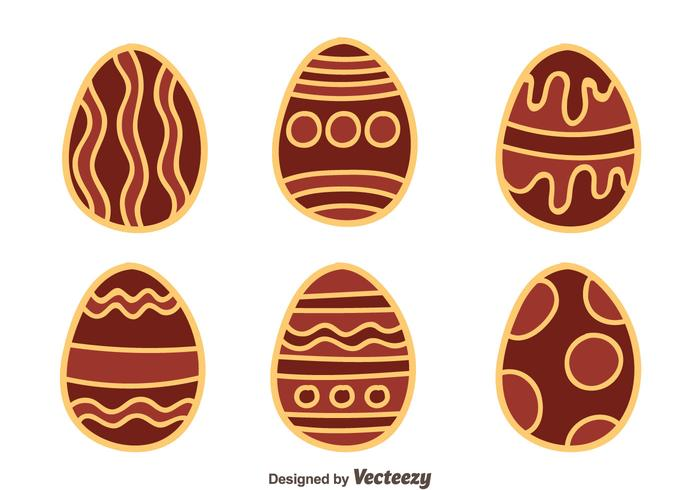 Hand Drawn Nice Chocolate Easter Eggs Vector