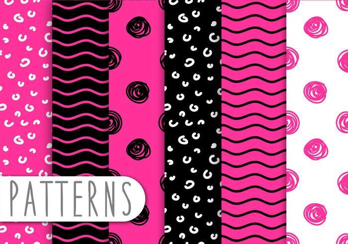 Pink And Black Pattern Set