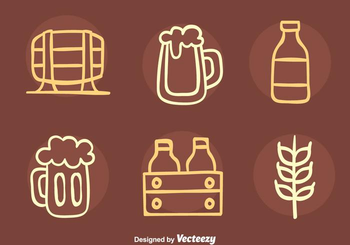 Nizza Bier Element Sketch Icons Vector