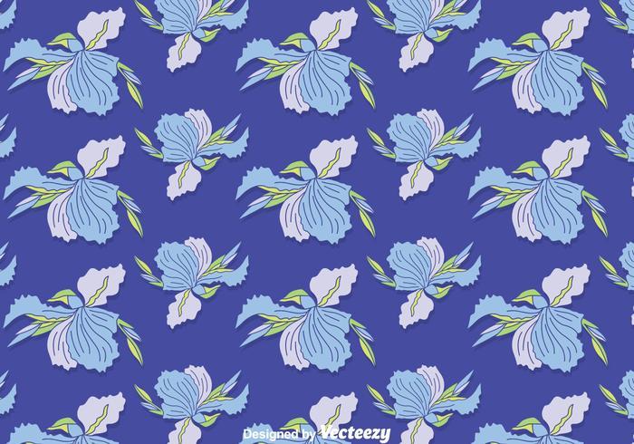 Blue Iris Flowers Seamless Pattern Vector