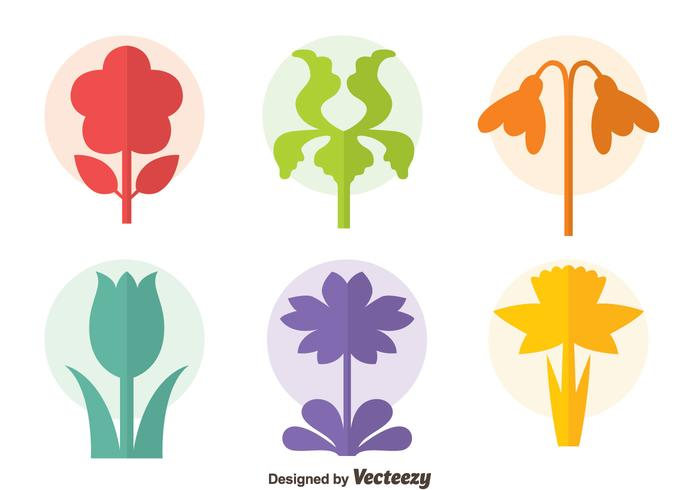 Colorful Flowers Collection Icons Vector