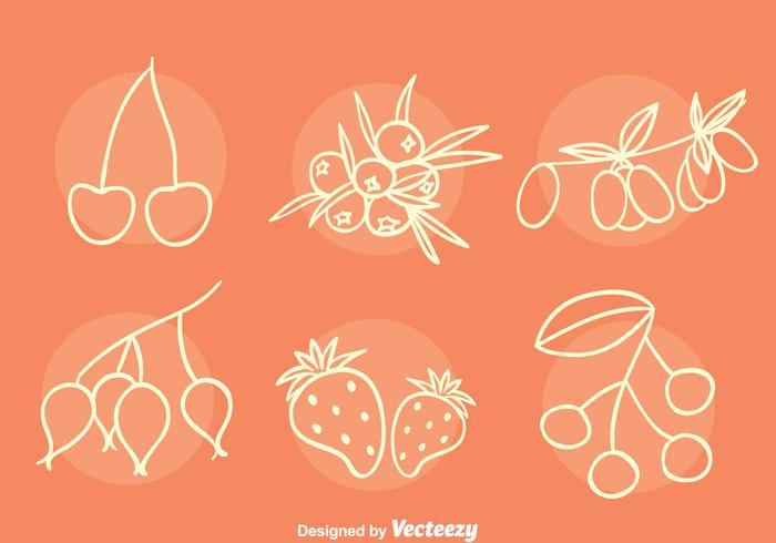Beeren Sammlung Sketch Vektoren
