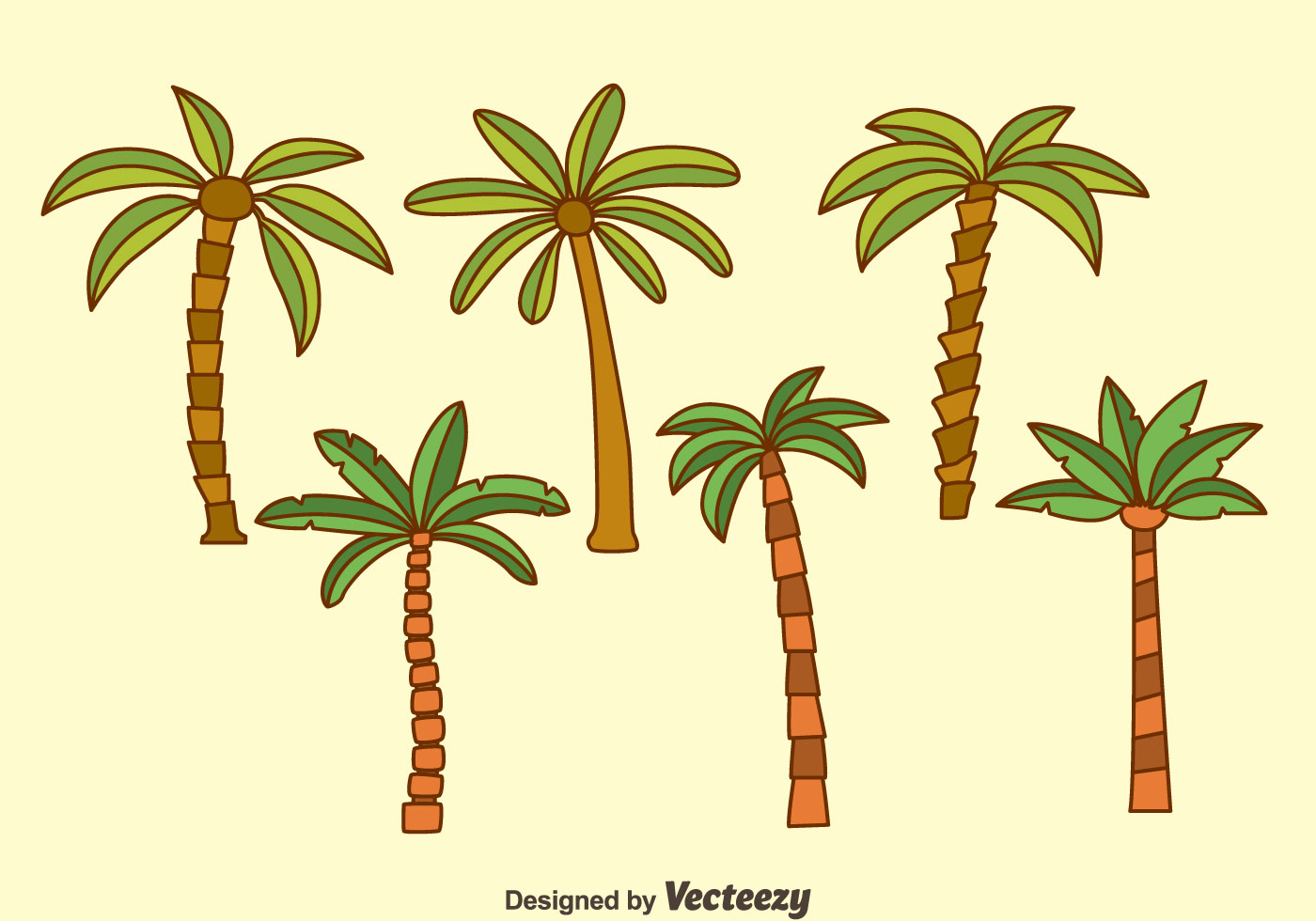Vector Illustration Tree: Palm Tree Collection Vectors