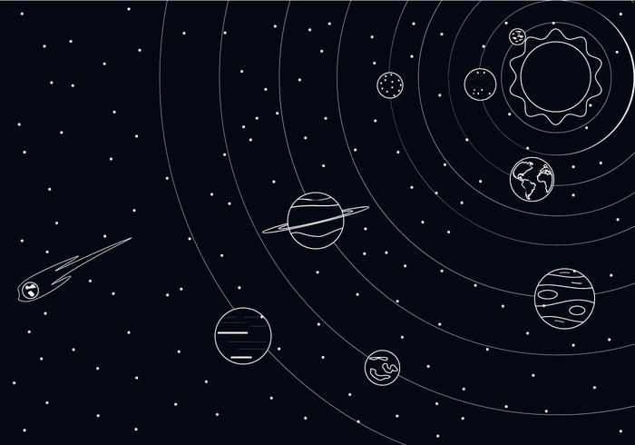 Outline Solar System Vector