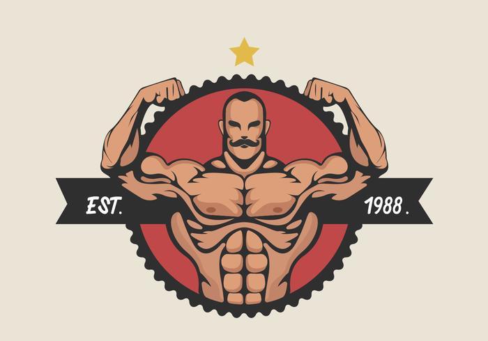 Hombre muscular que dobla el bíceps ilustración vectorial vector