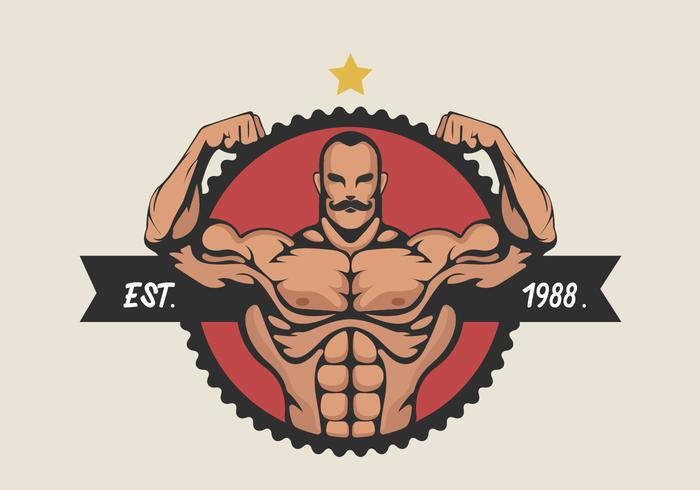 Muscular Man Flexing Bicep Vector Illustration