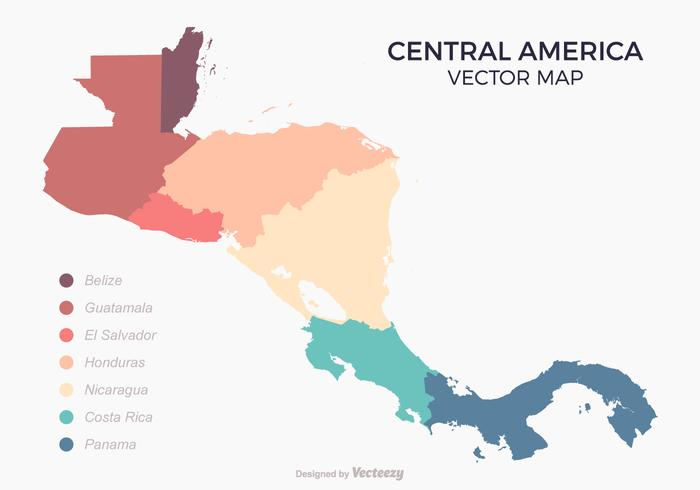Central America Map With Colored Countries Download Free Vector