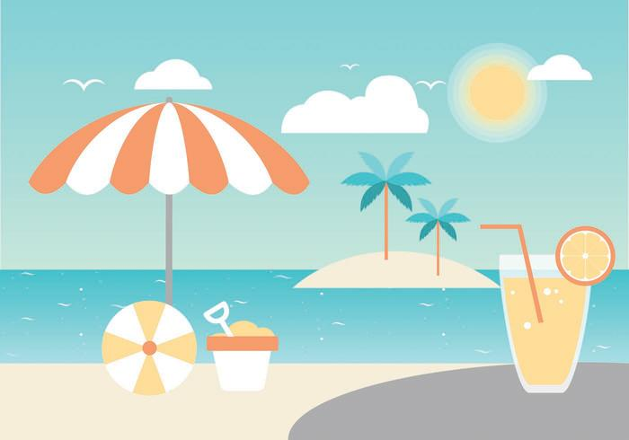 Free Summer Paradise Vector Greeting Card