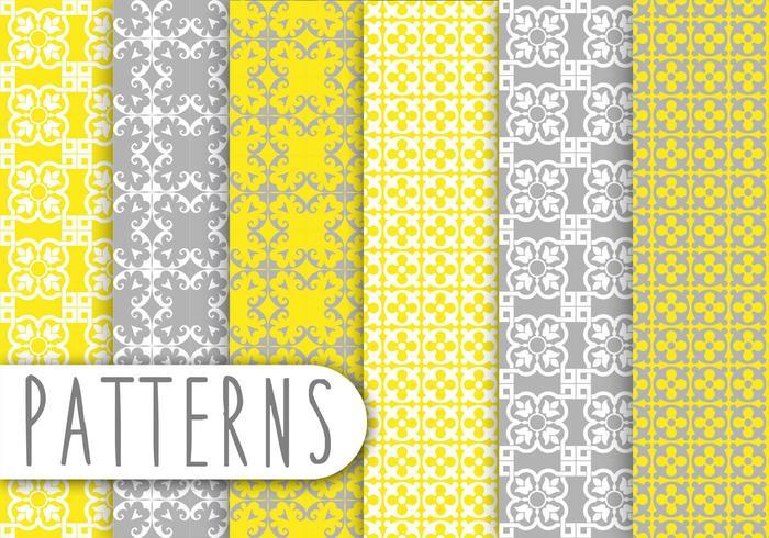 Yellow and Grey Decorative Pattern Set
