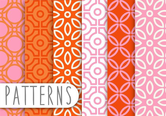 Pink and Orange Decorative Pattern Set