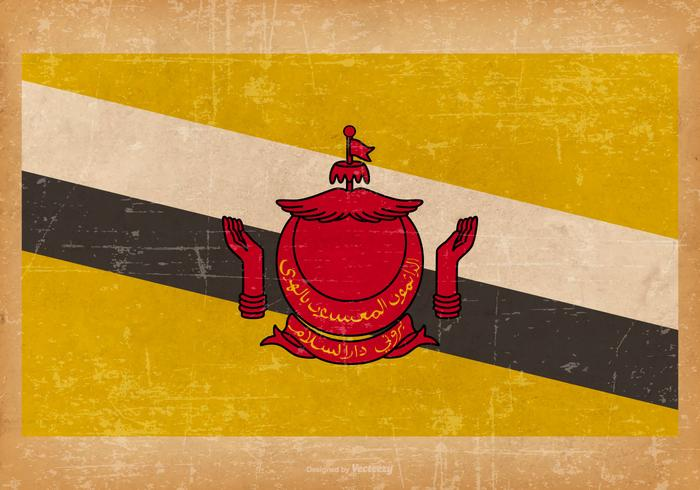 Flag of Brunei on Grunge Background