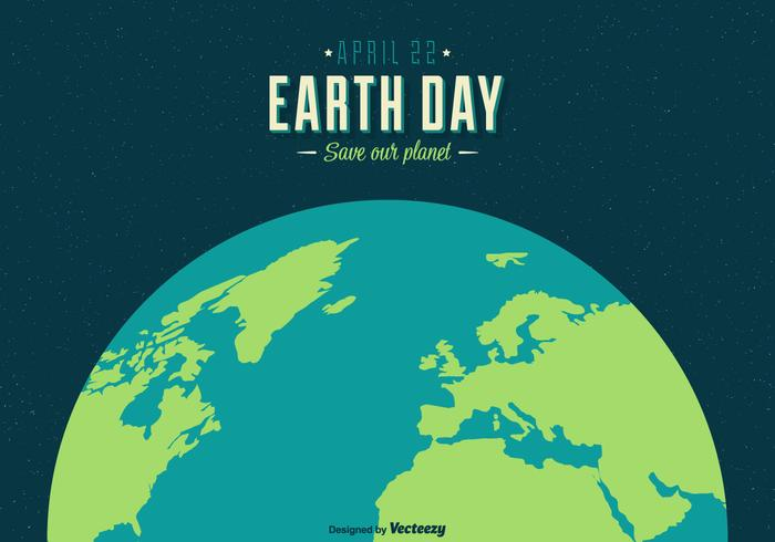 Earth Day Vector Retro Poster