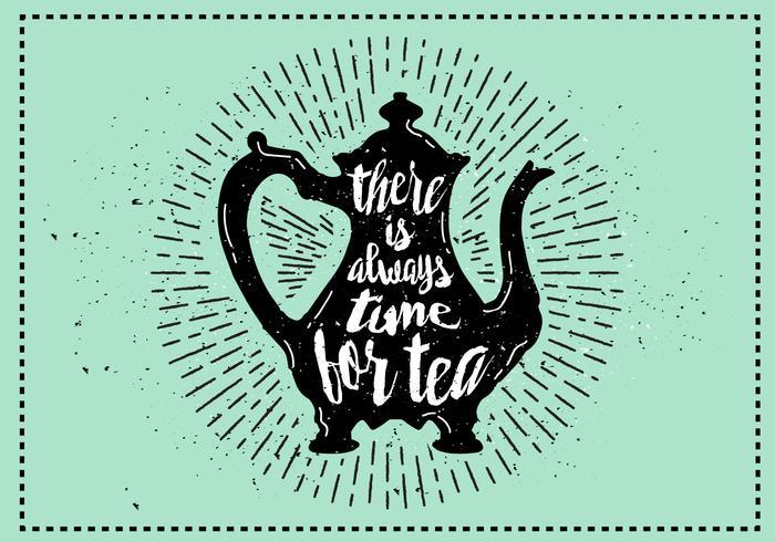 Vector libre Teakettle silueta ilustración con tipografía