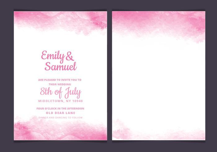 Vector Pink Delicate Watercolor Wedding Invitation